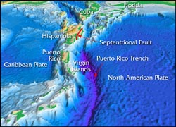 3-D view of the Puerto Rico Trench. (Courtesy Christopher Polloni, USGS and Jack Cook, Woods Hole Oceanographic Institution)